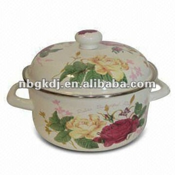 enamel casserole with enamel lid and wooden knob