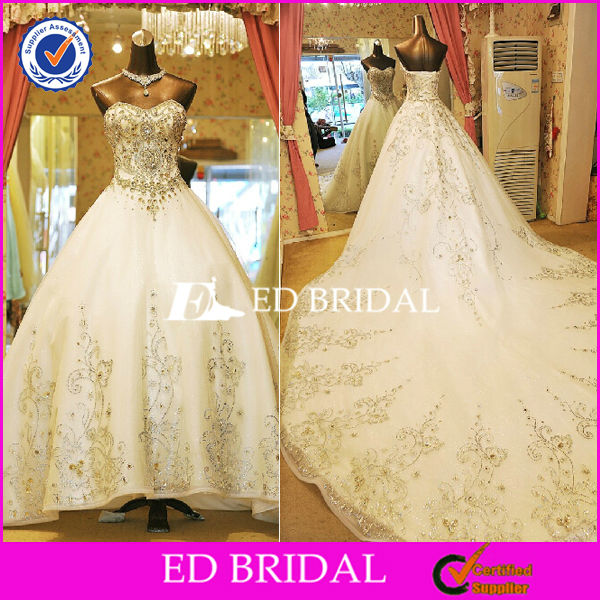 2798 Off Shoulder Luxury Embroidery Cathedral Train Ball Gown Buy Wedding Dress In China