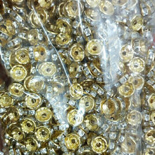 Lowest Price 6/8mm Flat Gold Silver Metal Spacer Disc Beads with Crystal Rhinestone Bulk Jewelry Supplies