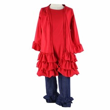 2015 baby girls boutique ruffle blank 3 piece suit pant coat children