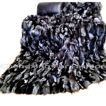CX-D-82 Natural Color Silver Fox Real Fur Throw Blanket