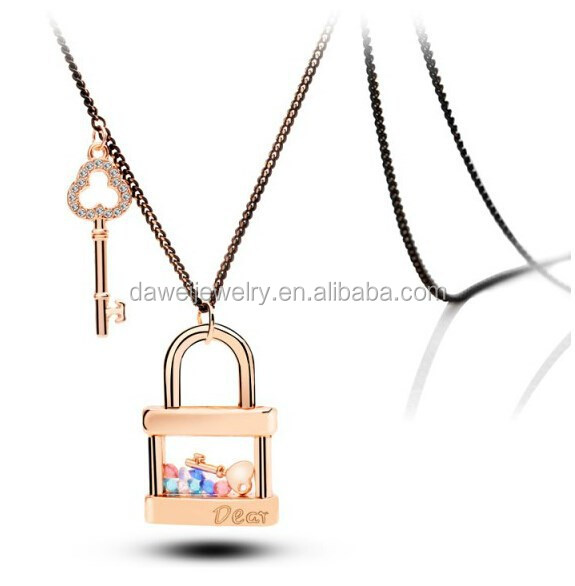 Key and Lock simple chain gold plating necklace in Korea