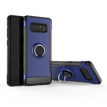 Hybrid 360 rotatable zinc ring holder kickstand carbon fiber magnetic armor mobile phone case for Samsung Galaxy Note 8