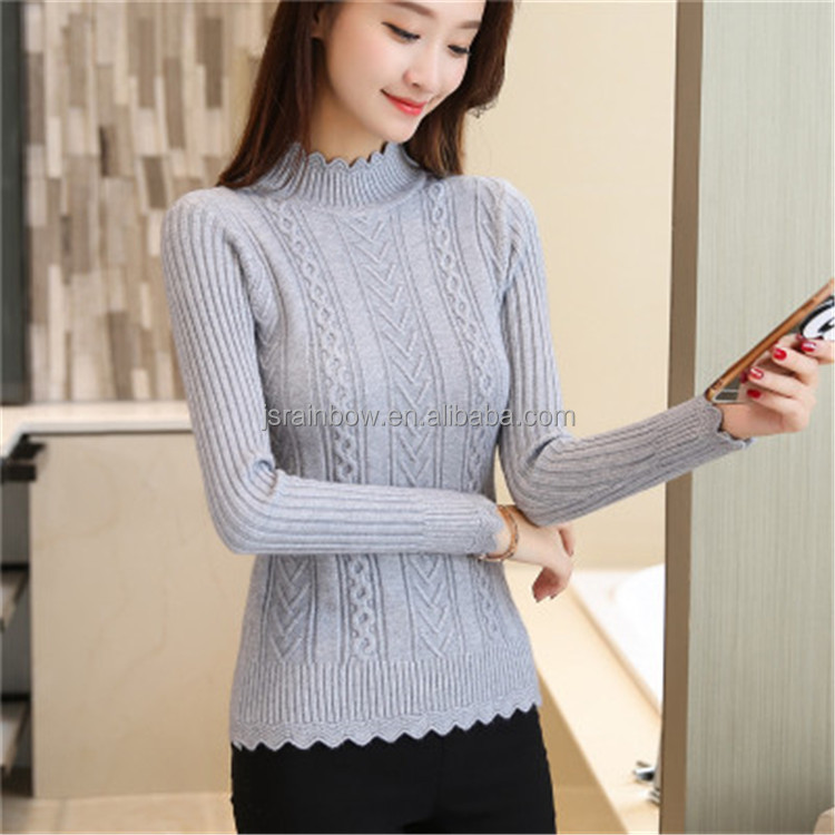 Wholesale girls polyester short white black knitted pullover sweater