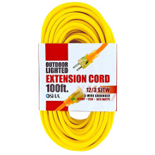 UL-Listed SJTW Yellow Heavy Duty Lighted Power Extension Cable