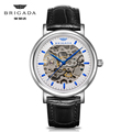 Top quality stainless steel gold mechanical watch, luxury leather strap watch for men