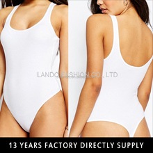 Simple Design White Strap Backless Sexy Adult Thong Nylon Bodysuit