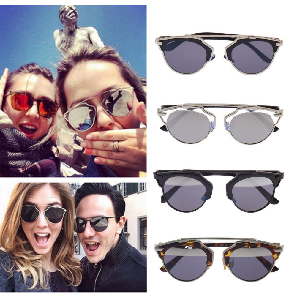 Hot Unisex Vintage Designer Cat Eye Retro Mirror Lens Shades Sunglasses