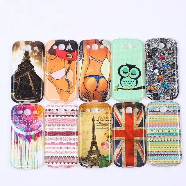 Colorful Printed Transparent Sey girl Muscle man Clear Soft Tiger Owl TPU Case Cover For Samsung Galay S 3 III S3 i9300 9300