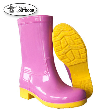 Manufacturer Ladies Fashion Pink PVC Rain Boots