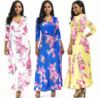 Fashion lady floral print dress polyester three quarter sleeve plus size maxi dress