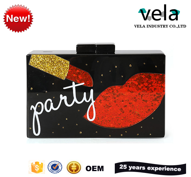 Ladies Handbags New Fashion Trend Lips Sequins Pieces Of Acrylic Banquet Package Wholesale