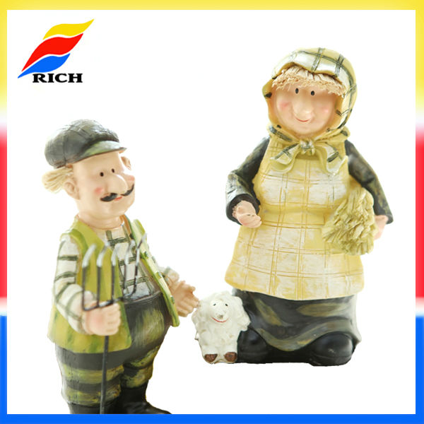 resin old couple figurine home decor