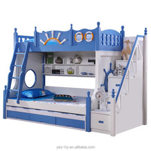 Bunk bed with slide funny cheap kids bed modern bedroom furniture blue M6