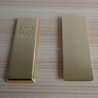 Custom Engraved Logo 999.9 24k Gold Plated Paperweight Gold Bar