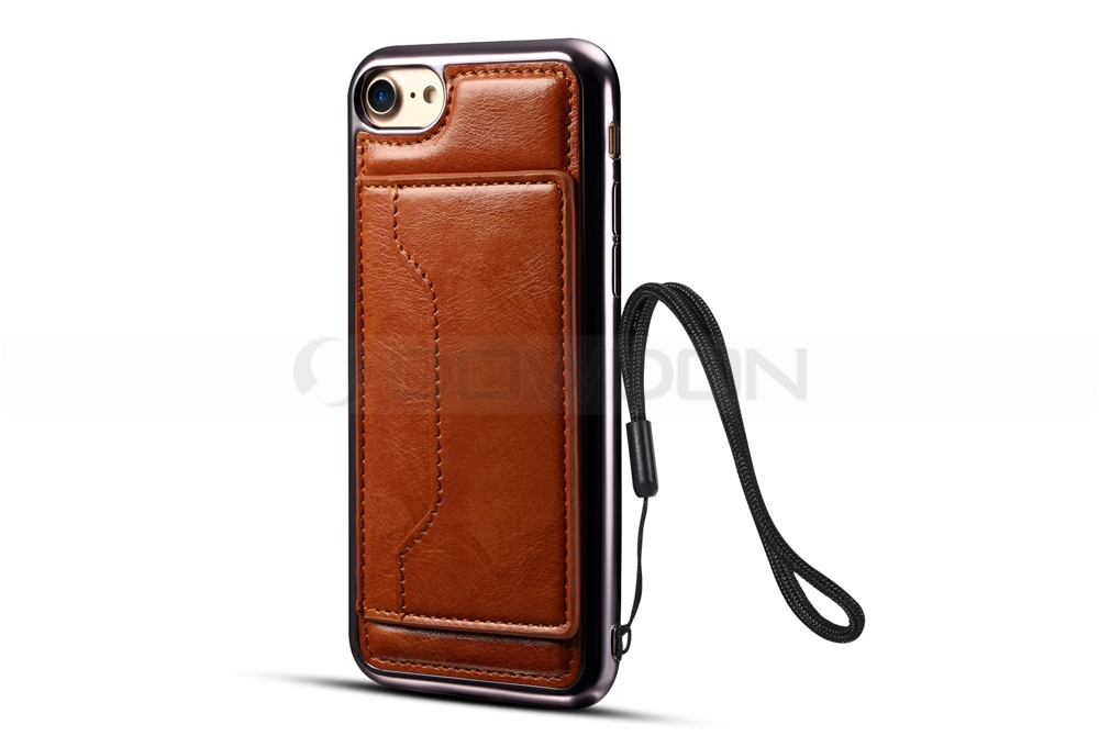 Electroplating TPU with PU Leather On the Back Kickstand Case for iPhone 8/7/ 7 plus with Strap