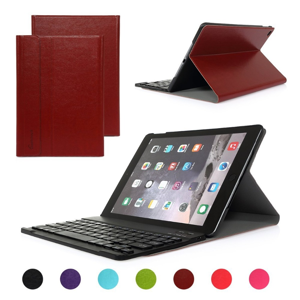 Luxury High Quality Folding PU Leather Folio Case Cover & Stand with Removable Bluetooth Keyboard For Apple iPad Air 2