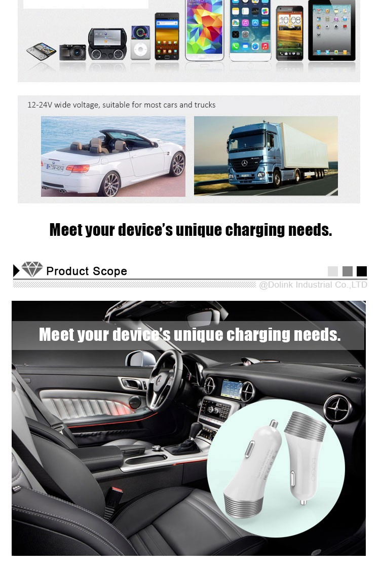 Universal 5V 2.4A CE ROHS Portable Mobile Phone Magnetic Dual Micro Usb Car Charger For iPhone