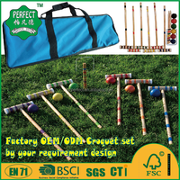 wooden croquet game set sport game for outdoor game