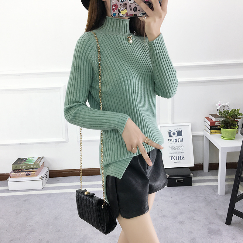 ZH1751C Lady Loose Turtleneck Basic Woman Knitted Pullover Simple Plain Sweater