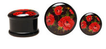 Flesh Plug Red Poppies ALP22 Long ear tunnel