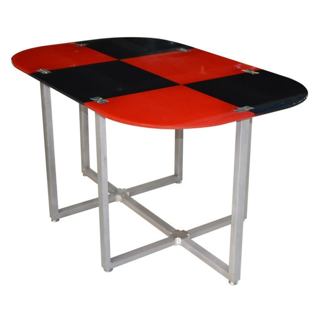 low price 4 seaters metal glass dining table and chair