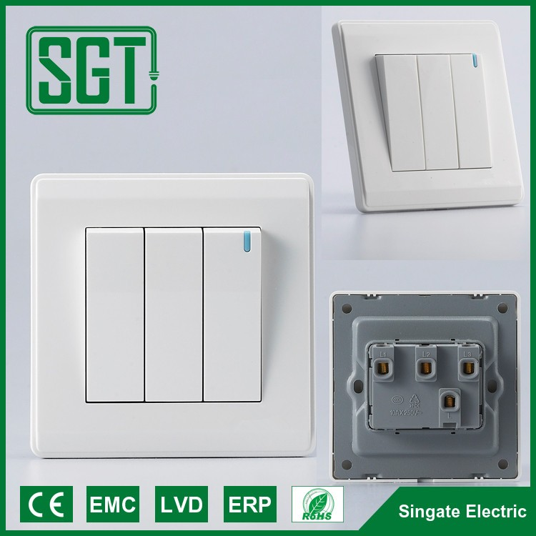 wall electrical light switch 3 gang 1 way good quality switch sitches