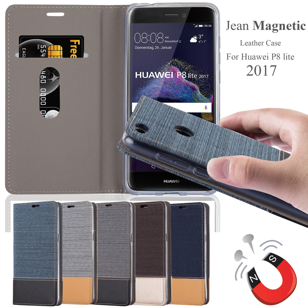 hotsale new Leather Mobile Phone Case for Huawei P8 lite 2017 Jean Pattern Back Cover