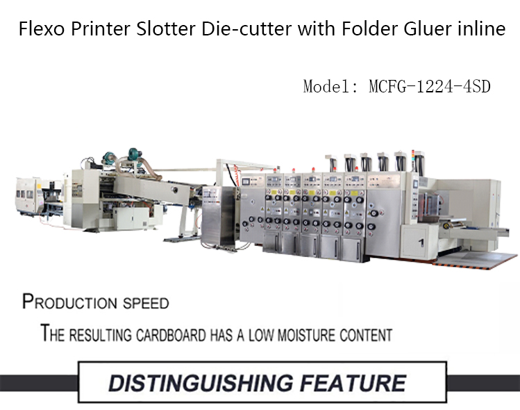 Cheap Automatic Electric drive Flexo Printer Slotter Die-cutter with Folder Gluer inline