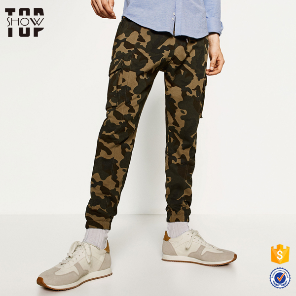 Dongguan clothing mens six pocket pants cotton slim fit joggers camouflage pants