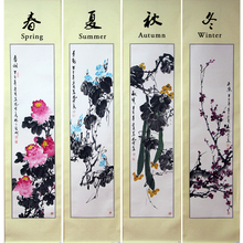 Traditional Chinese Culture art scroll painting Chinese painting present four seasons decoration Flower ink painting