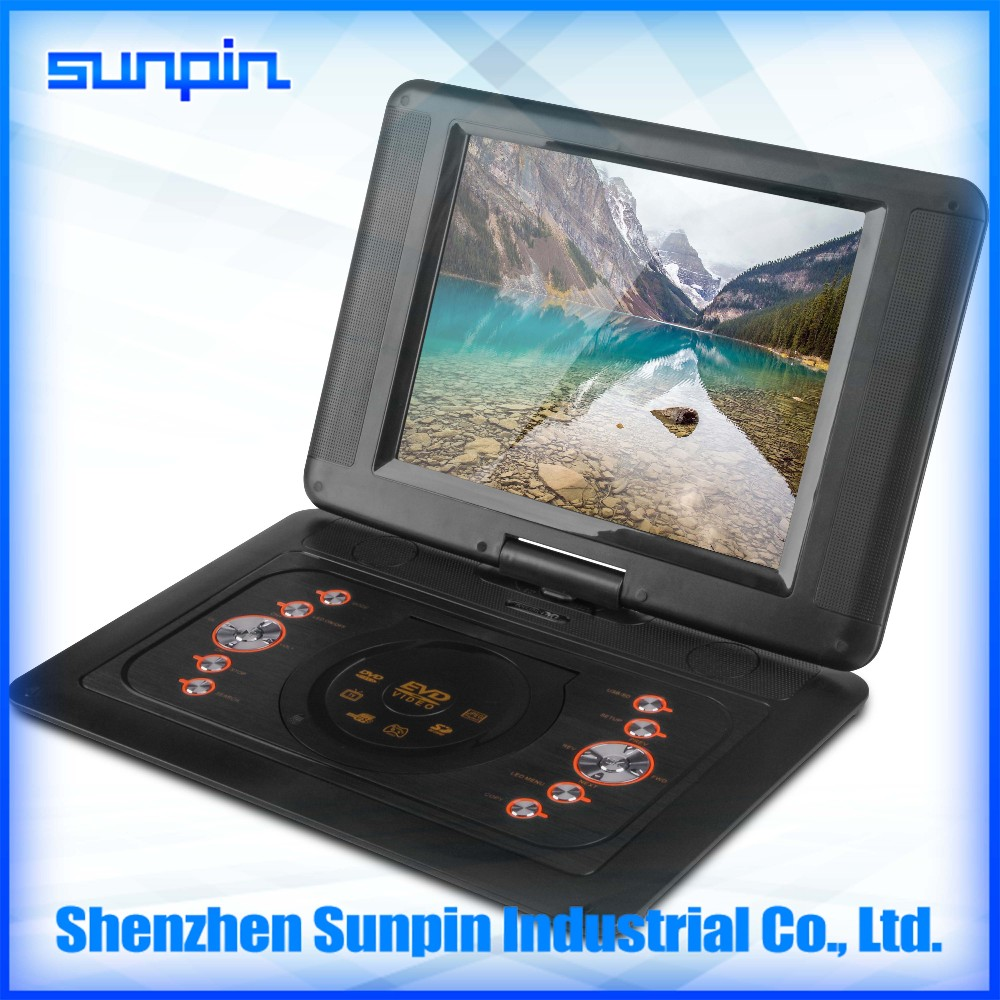 China wholesaler Shenzhen Sunpin 12-inch cheap portable DVD player with game/ FM radio/copy function