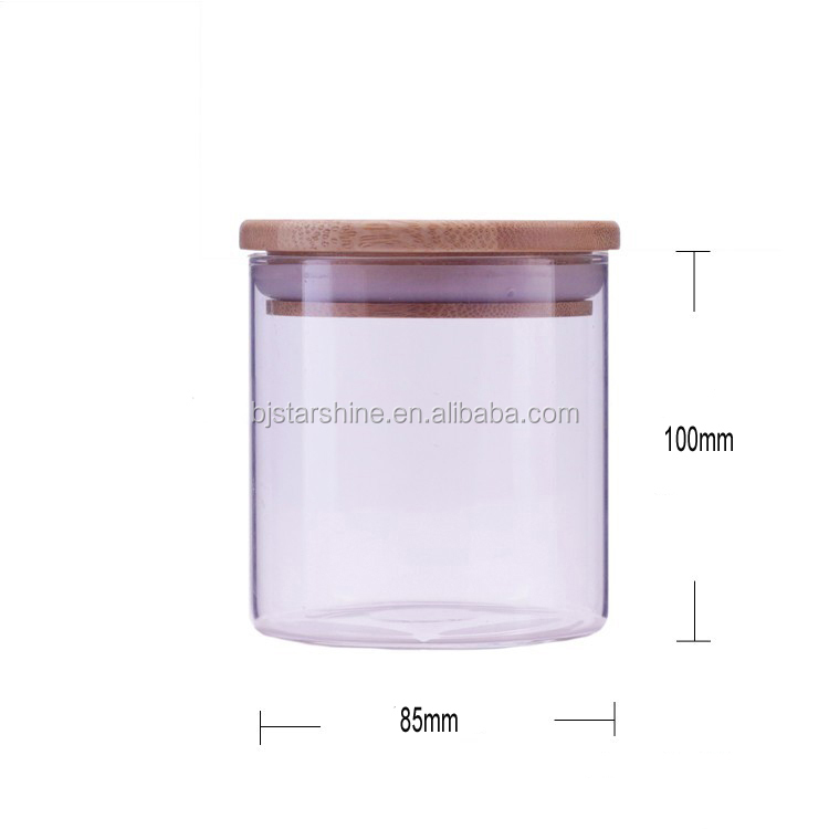 High borosilicate small pyrex glass jar with bamboo lid