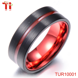 Dongguan Aohua Jewelry TUR10001 8mm fireman steel wooden teething automatic ring making machines with red resin inside the line