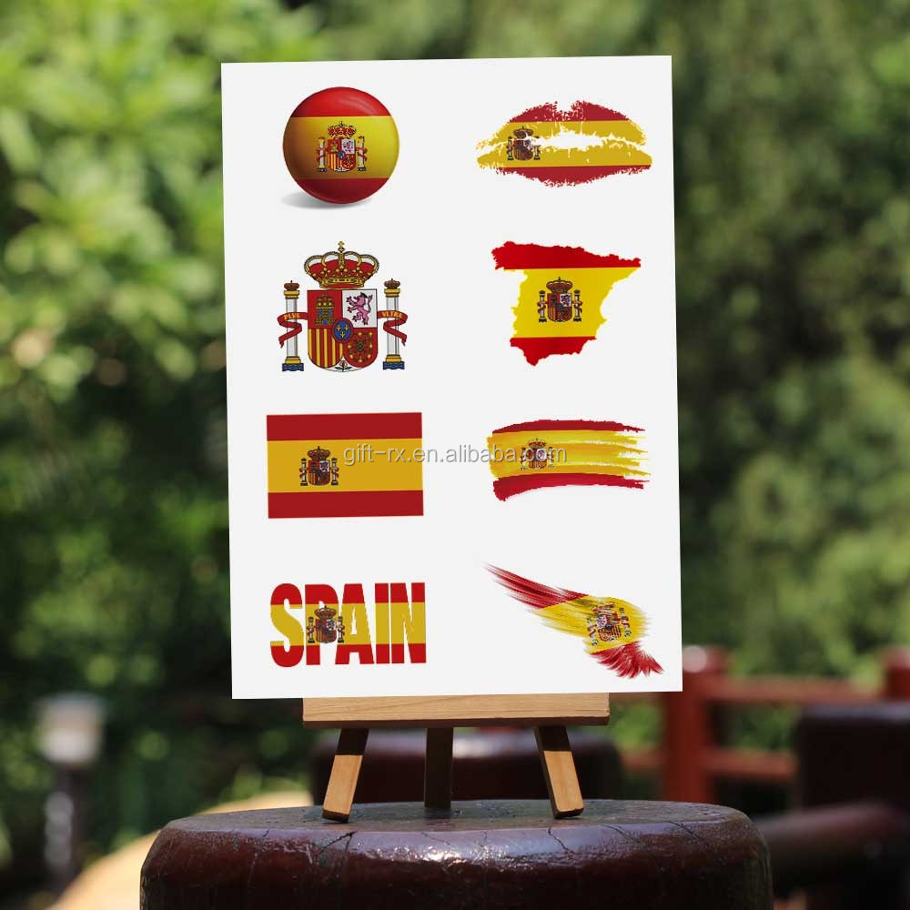 Spanish temporary face olympic games flag tattoo