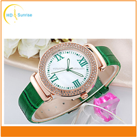 New oem custom leather strap quartz wrist fashion diamond lady watches women wholesale