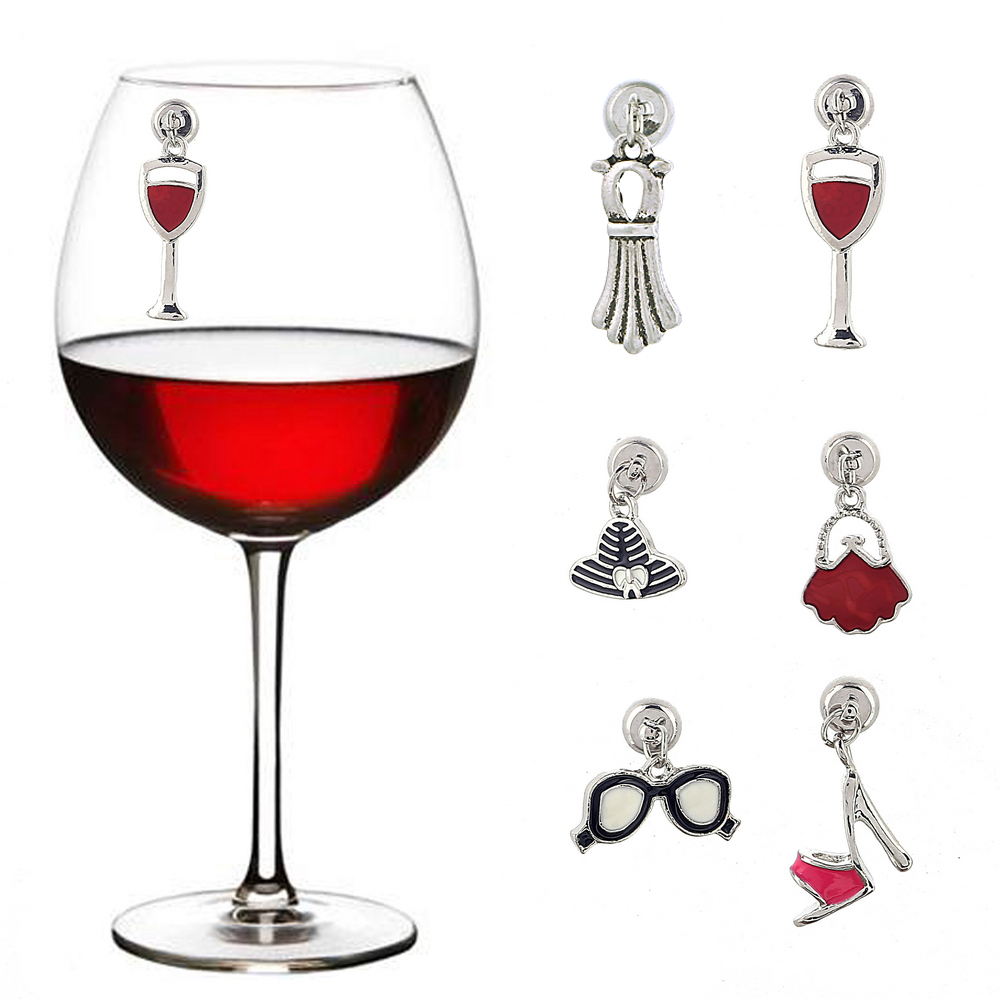 WM-10622A Cheap Price Magentic <strong>Wine</strong> Charms Metal <strong>Wine</strong> Glass Accessories Wedding Drinking Markers Sassy Lady Purse Heels Set Of 6