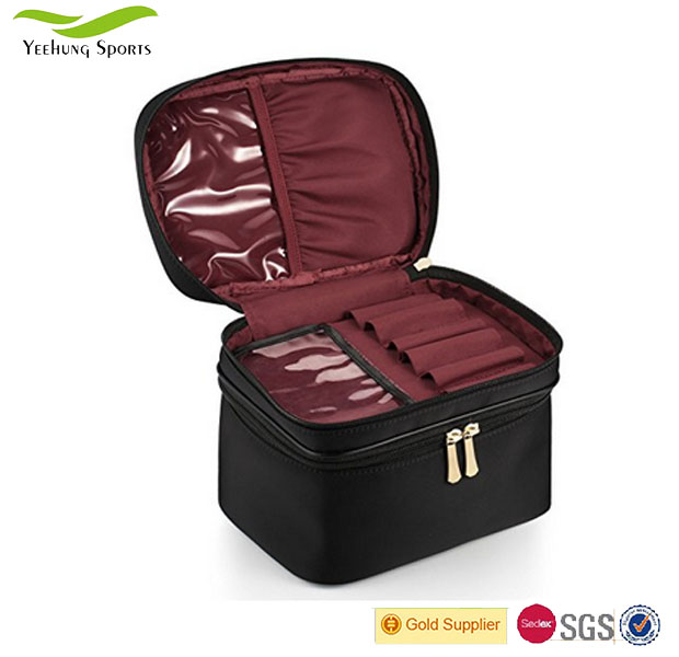 Factory Price Nylon Large Brush Case Travel Makeup Bag Double Layer Cosmetic Storage Bags Made in China