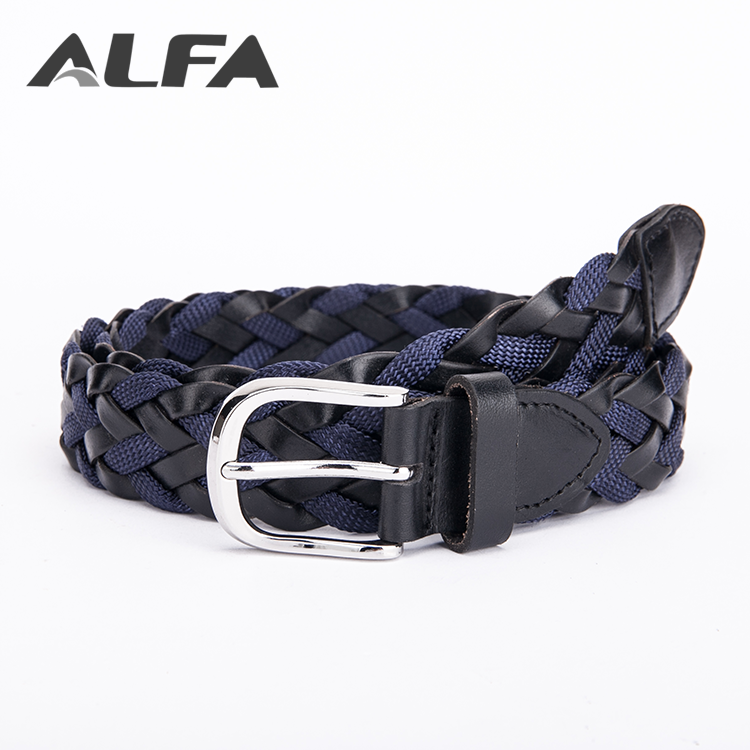 Alfa Belts China Supplier Fashion German Bonded Leather Men's Woven Braided Belt