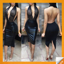 GBIY-724 2017 Latest Design Tight Leather Dress Sexy Ladies One Piece Dress Fashionable Sleeveless Dress