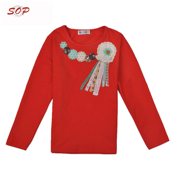 Long sleeve new style girls shirt with chest print