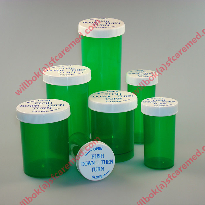 Medical Rx Push down snap cap Plastic Prescription child resistant vials