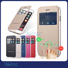 Transparent Window Dot View Holder Flip Cover Universal Leather Case For Mobile Phone