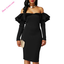 Black Ruffle Off-Shoulder Party Dress Imported from China