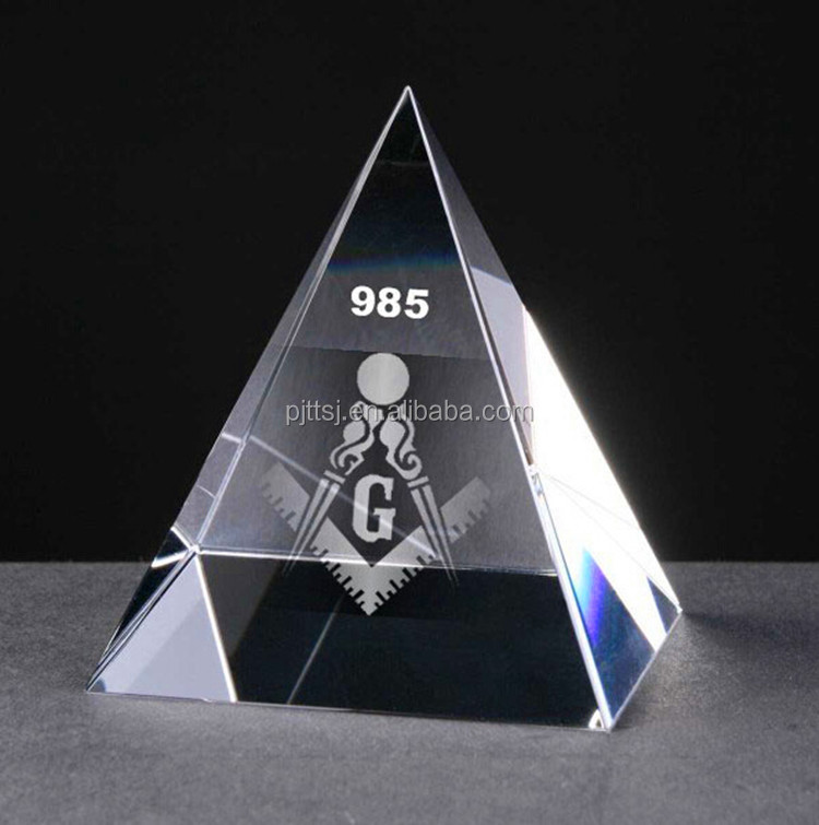 Three-dimensional Crystal Pyramid trophy inside carving