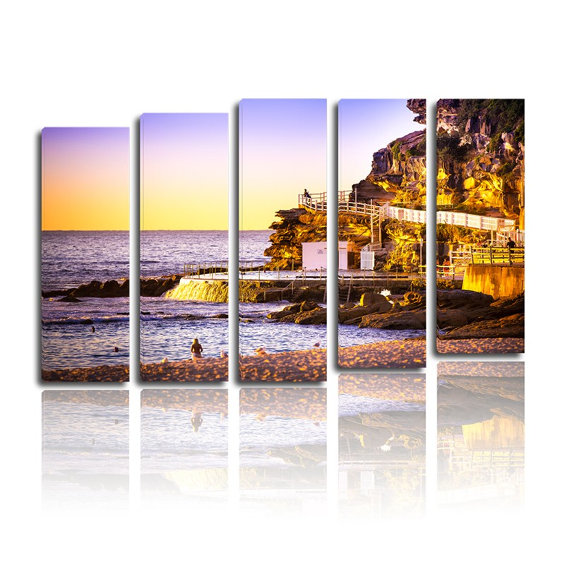5 panels sunset seascape stretched decorative 3d oil painting on canvas