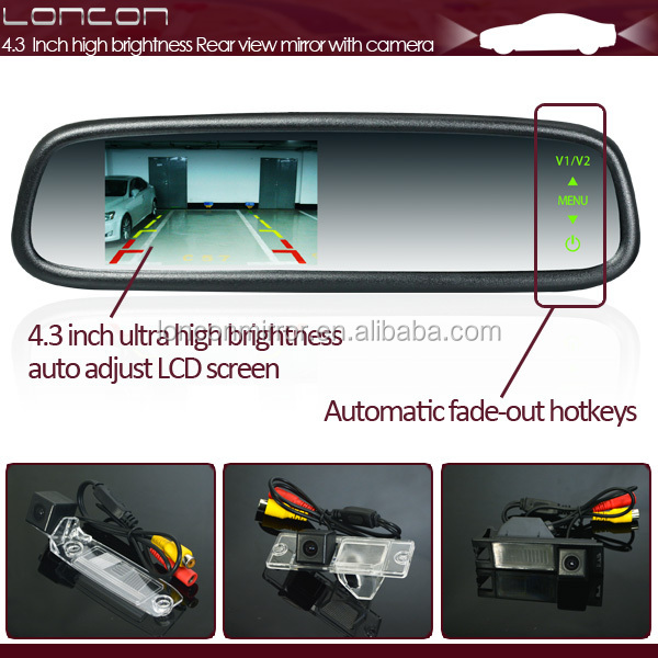 Car wide angle rear view mirror 2 video inputs reverse camera & interior car rearview mirror monitor