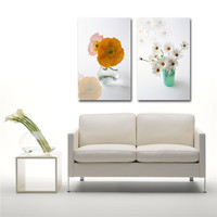 soft color white and yellow flower photo wall art 2 panel canvas wall painting