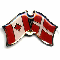 Denmark and Canada custom cross metal flag lapel badges flag pin crafts
