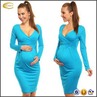 OEM wholesale Mama Women's Sexy Long Sleeve V Neck Nursing Pencil Jersey Casual Maternity dress